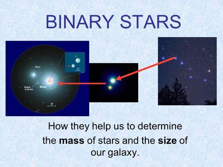 BINARY STARS How they help us to determine the mass of stars and the size of our galaxy.