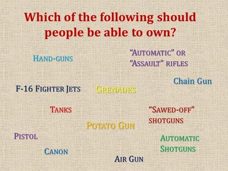 "Which of the following should people be able to own? F-16 F IGHTER J ETS T ANKS ""A UTOMATIC "" OR ""A SSAULT "" RIFLES A UTOMATIC S HOTGUNS G RENADES H AND."