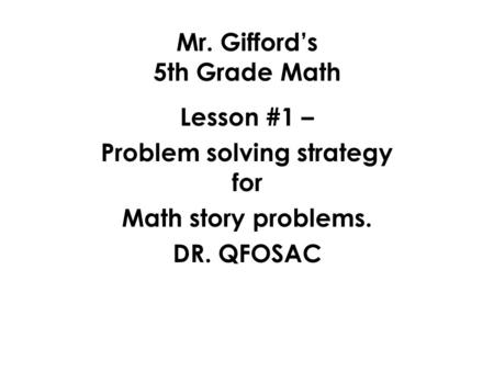 Mr. Gifford's 5th Grade Math