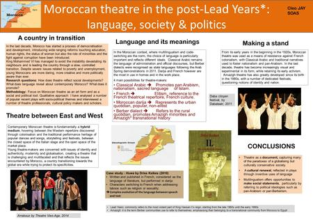 Moroccan theatre in the post-Lead Years*: language, society & politics In the last decade, Morocco has started a process of democratisation and development,