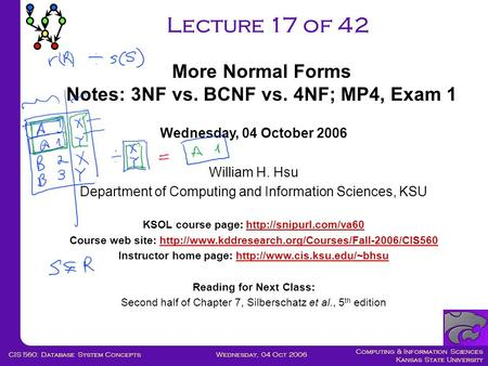 Computing & Information Sciences Kansas State University Wednesday, 04 Oct 2006CIS 560: Database System Concepts Lecture 17 of 42 Wednesday, 04 October.