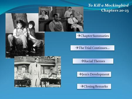 To Kill a Mockingbird Chapters 20-23  Chapter Summaries  The Trial Continues…  Racial Themes  Jem's Development  Closing Remarks.