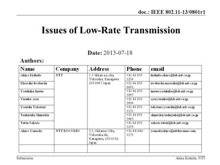 Submission doc.: IEEE 802.11-13/0801r1 Akira Kishida, NTT Issues of Low-Rate Transmission Date: 2013-07-18 Authors: