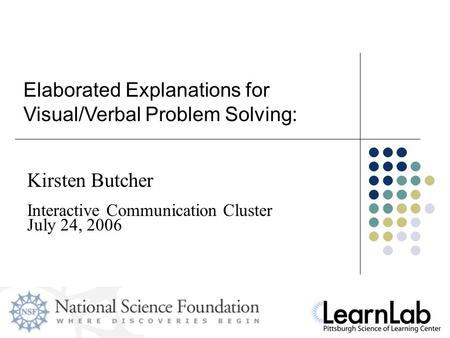 Slide 1 Kirsten Butcher Elaborated Explanations for Visual/Verbal Problem Solving: Interactive Communication Cluster July 24, 2006.