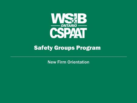 Safety Groups Program New Firm Orientation. Orientation Overview Rebate Formula 5-Step Management System Program Overview –Achievement List - Getting.