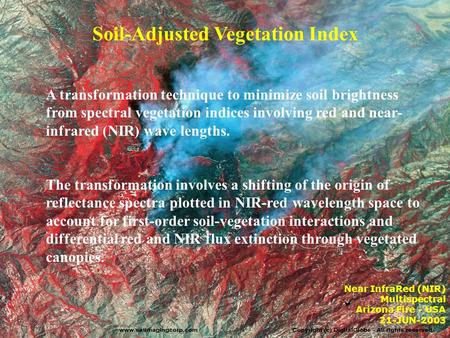 Soil-Adjusted Vegetation Index A transformation technique to minimize soil brightness from spectral vegetation indices involving red and near- infrared.