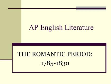 literary essay on the romantic period