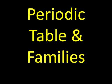 Periodic Table & Families. Mendeleev's Table (1871) While it was the first periodic table, Mendeleev had very different elements, such as the very reactive.