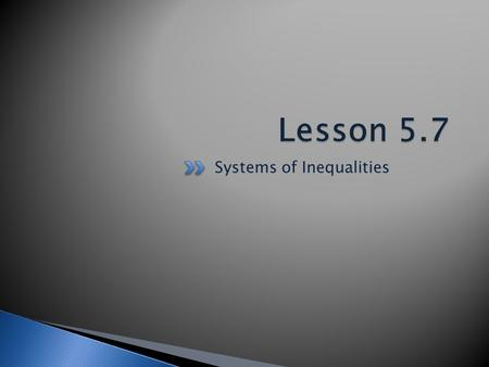 Systems of Inequalities.  You have learned that a solution to a system of two linear equations, if there is exactly one solution is the coordinates of.