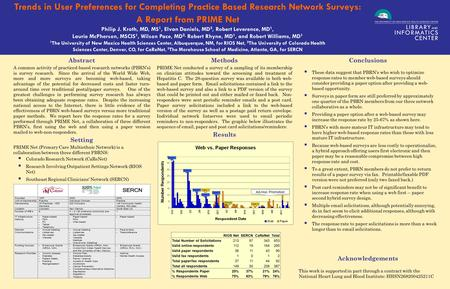 . Trends in User Preferences for Completing Practice Based Research Network Surveys: A Report from PRIME Net Philip J. Kroth, MD, MS 1, Elvan Daniels,