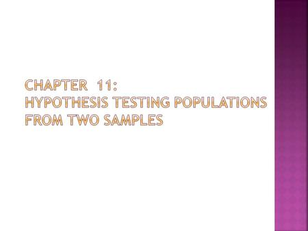  In Chapter 10 we tested a parameter from a population represented by a sample against a known population ( ).  In chapter 11 we will test a parameter.