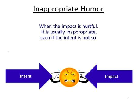 1 Inappropriate Humor When the impact is hurtful, it is usually inappropriate, even if the intent is not so.. Intent Impact.