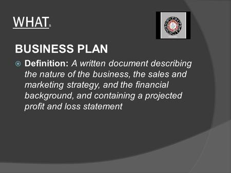 WHAT S BUSINESS PLAN  Definition: A written document describing the nature of the business, the sales and marketing strategy, and the financial background,