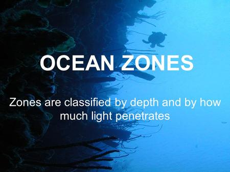 OCEAN ZONES Zones are classified by depth and by how much light penetrates.