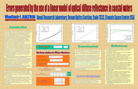Diffuse reflection coefficient or diffuse reflectance of light from water body is an informative part of remote sensing reflectance of light from the ocean.