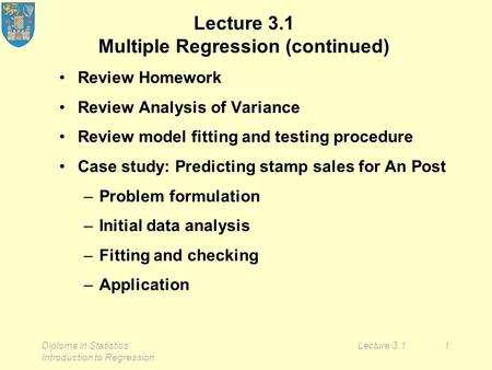 Diploma in Statistics Introduction to Regression Lecture 3.11 Lecture 3.1 Multiple Regression (continued) Review Homework Review Analysis of Variance Review.