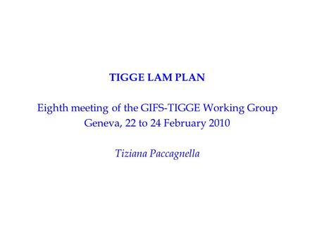TIGGE LAM PLAN Eighth meeting of the GIFS-TIGGE Working Group Geneva, 22 to 24 February 2010 Tiziana Paccagnella.