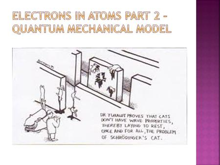 Electrons in Atoms Part 2 – Quantum Mechanical Model