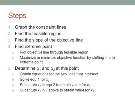 Steps Graph the constraint lines Find the feasible region