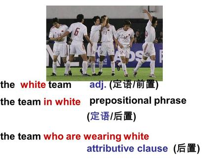 The white team the team in white the team who are wearing white adj. ( 定语 / 前置 ) prepositional phrase ( 定语 / 后置 ) attributive clause ( 后置 )