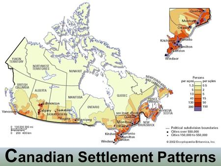 C anadian Settlement Patterns. Long Lots of Southern Quebec Developed along waterways Settled before survey system implemented Long, thin farms Heritage.