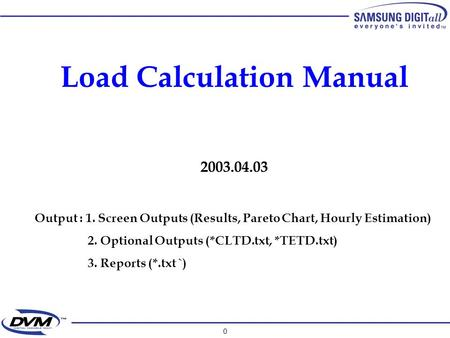 0 Load Calculation Manual 2003.04.03 Output : 1. Screen Outputs (Results, Pareto Chart, Hourly Estimation) 2. Optional Outputs (*CLTD.txt, *TETD.txt) 3.