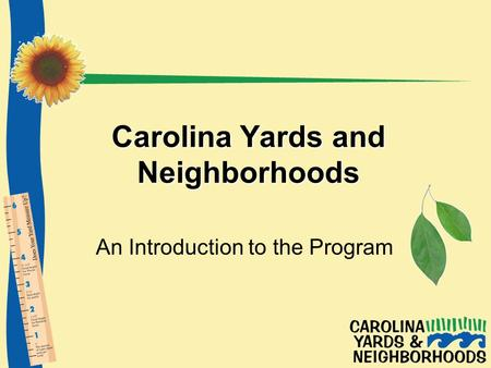 Carolina Yards and Neighborhoods An Introduction to the Program.