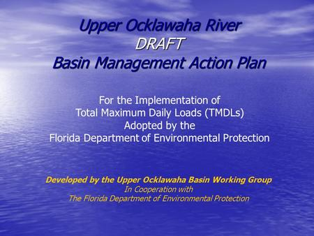 Upper Ocklawaha River DRAFT Basin Management Action Plan For the Implementation of Total Maximum Daily Loads (TMDLs) Adopted by the Florida Department.