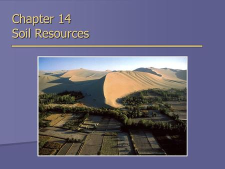 Chapter 14 Soil Resources. Soil  Uppermost layer of Earth's crust that supports plants, animals and microbes  Soil Forming Factors  Parent Material.