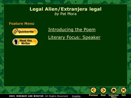 legal alien pat mora Licup 1metaphor, tone and antithesis in legal alienlegal alien, a collection  from chants, is a short free versed poem written by pat mora the poem.