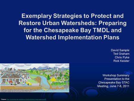 Click to edit Master subtitle style Exemplary Strategies to Protect and Restore Urban Watersheds: Preparing for the Chesapeake Bay TMDL and Watershed Implementation.