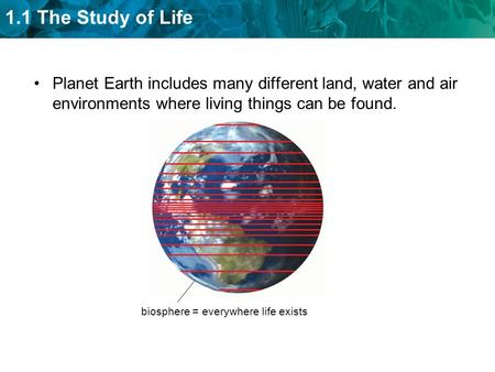 1.1 The Study of Life Planet Earth includes many different land, water and air environments where living things can be found. biosphere = everywhere life.
