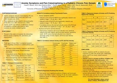 Anxiety Symptoms and Pain Catastrophizing in a Pediatric Chronic Pain Sample Susan T. Heinze¹, M.S., Kim Anderson Khan², ³, Psy.D., Renee Ladwig 3, APRN,
