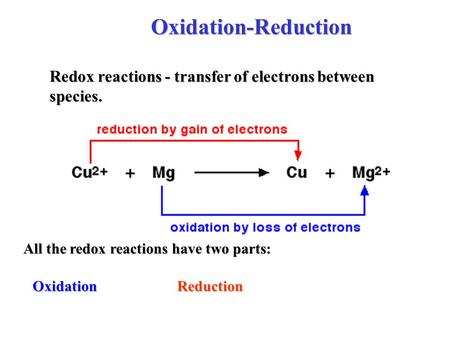 Oxidation-Reduction Redox reactions - transfer of electrons between species. All the redox reactions have two parts: OxidationReduction.