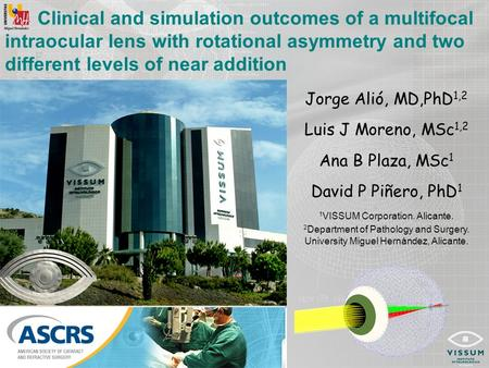 Clinical and simulation outcomes of a multifocal intraocular lens with rotational asymmetry and two different levels of near addition Jorge Alió, MD,PhD.
