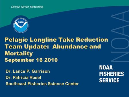 Pelagic Longline Take Reduction Team Update: Abundance and Mortality September 16 2010 Dr. Lance P. Garrison Dr. Patricia Rosel Southeast Fisheries Science.