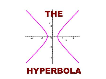 THE HYPERBOLA. A hyperbola is the collection of all points in the plane the difference of whose distances from two fixed points, called the foci, is a.