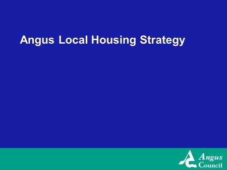 Angus Local Housing Strategy. Angus LHS Review 2007-08 Key Priority Areas 1.Helping Aging and Disabled households 2.Mixed Tenure & Housing Options 3.Housing.