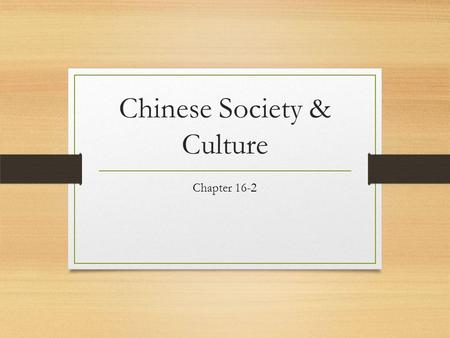 Chinese Society & Culture