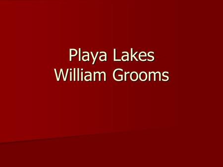 Playa Lakes William Grooms. What are Playa Lakes? shallow, depressional wetlands that are generally round and small, shallow, depressional wetlands that.