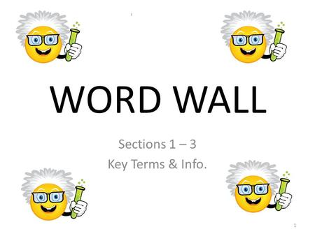 WORD WALL Sections 1 – 3 Key Terms & Info. 1. WORD WALL Thinking Like a Scientist!!! Section 1 Pages 6-12 2.