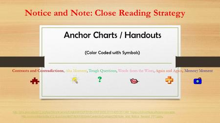 Anchor Charts / Handouts (Color Coded with Symbols)