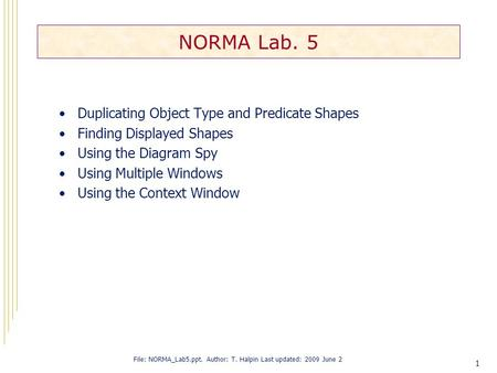 1 NORMA Lab. 5 Duplicating Object Type and Predicate Shapes Finding Displayed Shapes Using the Diagram Spy Using Multiple Windows Using the Context Window.