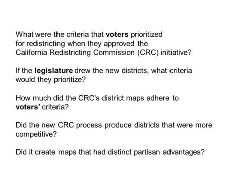 What were the criteria that voters prioritized for redistricting when they approved the California Redistricting Commission (CRC) initiative? If the legislature.