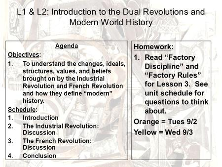 L1 & L2: Introduction to the Dual Revolutions and Modern World History Agenda Objectives: 1.To understand the changes, ideals, structures, values, and.