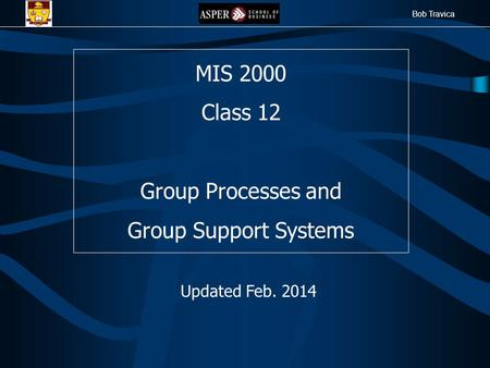 Bob Travica MIS 2000 Class 12 Group Processes and Group Support Systems Updated Feb. 2014.