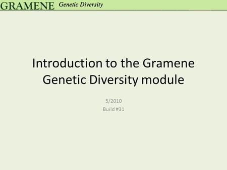 Introduction to the Gramene Genetic Diversity module 5/2010 Build #31.