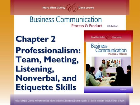 Chapter 2 Professionalism: Team, Meeting, Listening, Nonverbal, and <strong>Etiquette</strong> Skills.