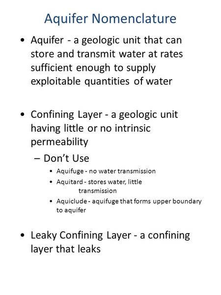 Aquifer Nomenclature Aquifer - a geologic unit that can store and transmit <strong>water</strong> at rates sufficient enough to supply exploitable quantities of <strong>water</strong>.
