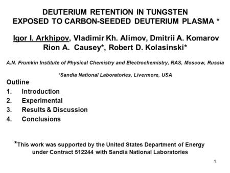 *This work was supported by the United States Department of Energy